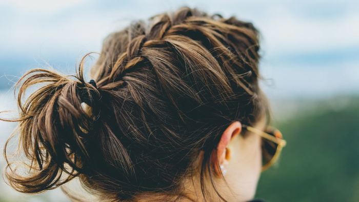 woman with hair in updo