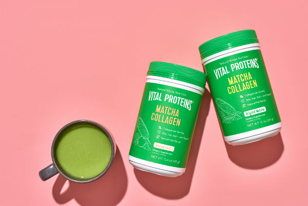 vital proteins matcha collagen two containers and a cup